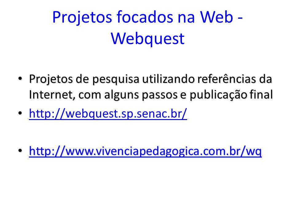 Projetos focados na Web - Webquest Projetos de pesquisa utilizando referências da Internet, com alguns passos e publicação final Projetos de pesquisa utilizando referências da Internet, com alguns passos e publicação final http://webquest.sp.senac.br/ http://www.vivenciapedagogica.com.br/wq http://www.vivenciapedagogica.com.br/wq http://www.vivenciapedagogica.com.br/wq