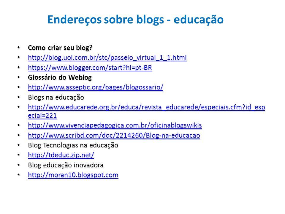 Endereços sobre blogs - educação Como criar seu blog? Como criar seu blog? http://blog.uol.com.br/stc/passeio_virtual_1_1.html http://blog.uol.com.br/
