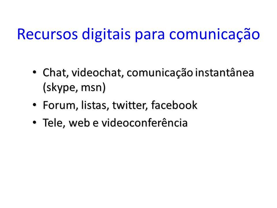Recursos digitais para comunicação Chat, videochat, comunicação instantânea (skype, msn) Chat, videochat, comunicação instantânea (skype, msn) Forum,
