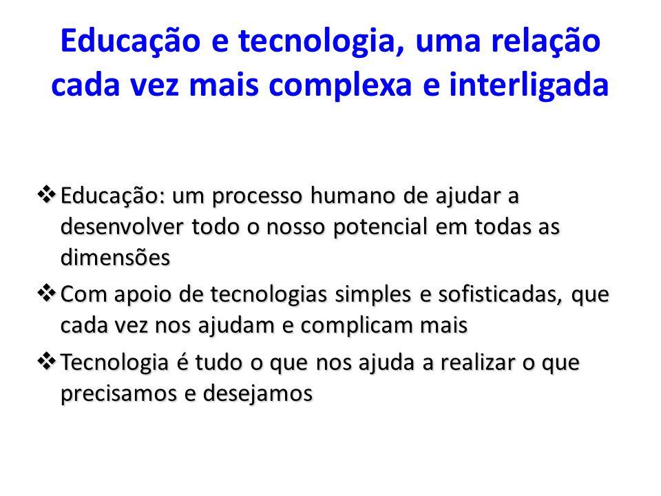 Educação e tecnologia, uma relação cada vez mais complexa e interligada Educação: um processo humano de ajudar a desenvolver todo o nosso potencial em