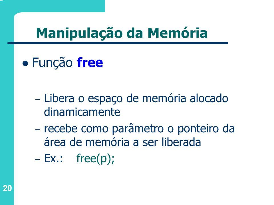 20 Manipulação da Memória Função free – Libera o espaço de memória alocado dinamicamente – recebe como parâmetro o ponteiro da área de memória a ser l