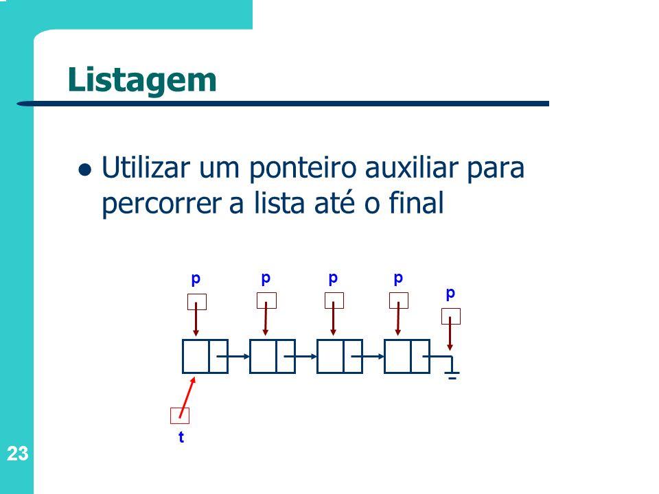 23 Listagem Utilizar um ponteiro auxiliar para percorrer a lista até o final t p ppp p