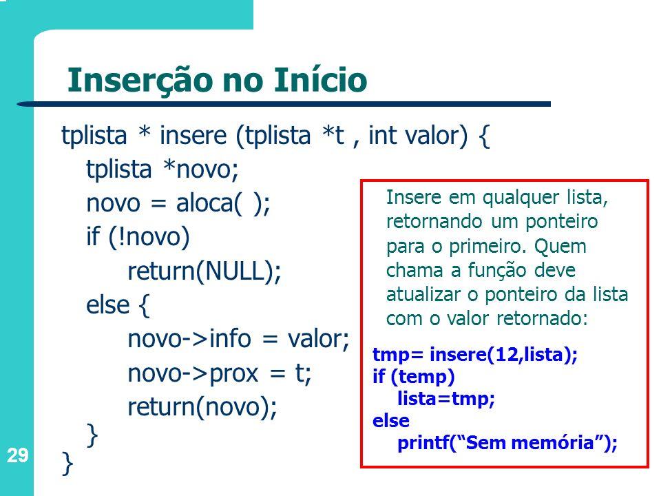 29 Inserção no Início tplista * insere (tplista *t, int valor) { tplista *novo; novo = aloca( ); if (!novo) return(NULL); else { novo->info = valor; n
