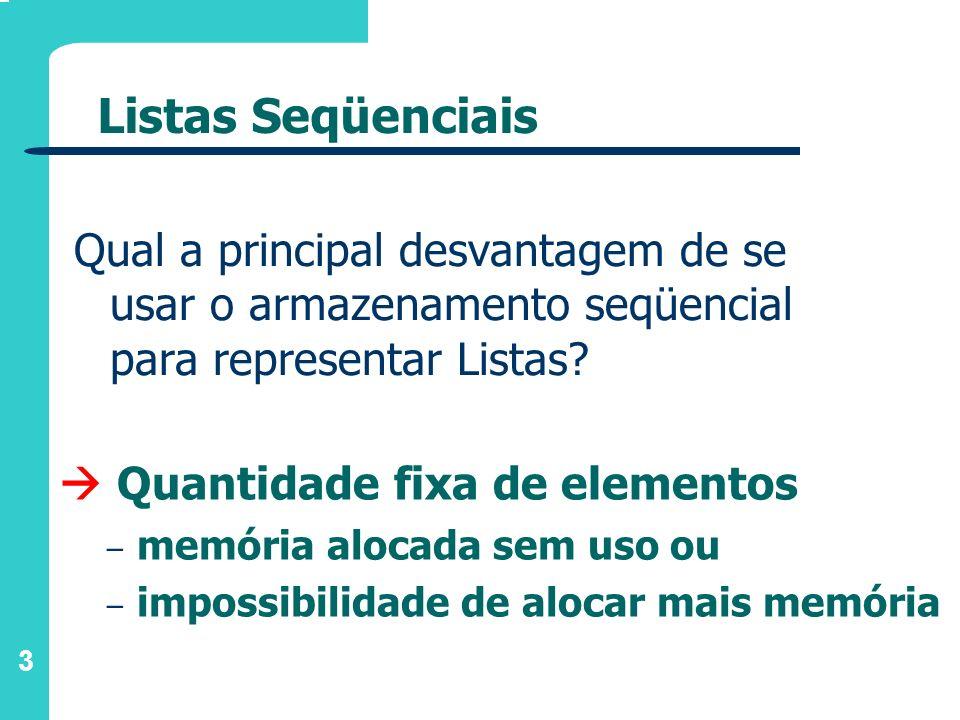 3 Listas Seqüenciais Qual a principal desvantagem de se usar o armazenamento seqüencial para representar Listas? Quantidade fixa de elementos – memóri