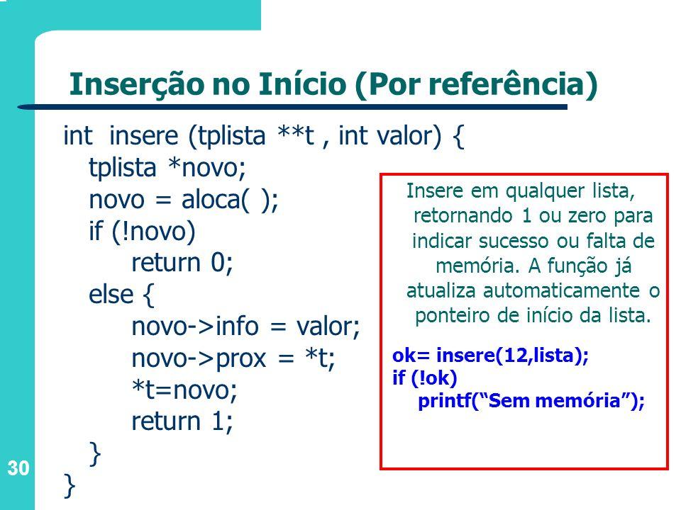 30 Inserção no Início (Por referência) int insere (tplista **t, int valor) { tplista *novo; novo = aloca( ); if (!novo) return 0; else { novo->info =