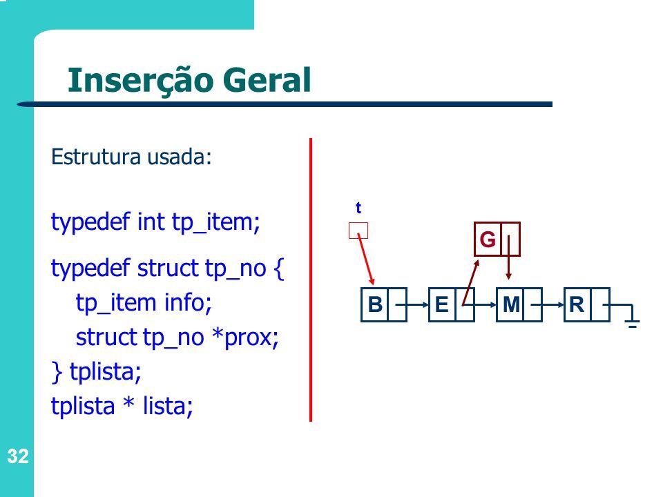 32 Inserção Geral Estrutura usada: typedef int tp_item; typedef struct tp_no { tp_item info; struct tp_no *prox; } tplista; tplista * lista; t BE G MR