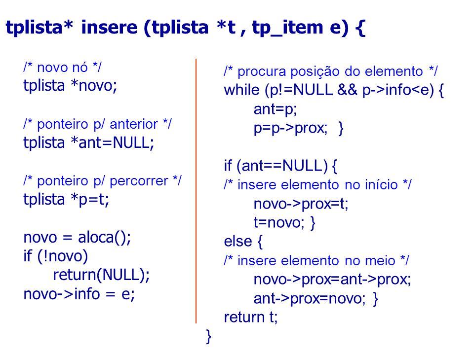 /* procura posição do elemento */ while (p!=NULL && p->info<e) { ant=p; p=p->prox; } if (ant==NULL) { /* insere elemento no início */ novo->prox=t; t=