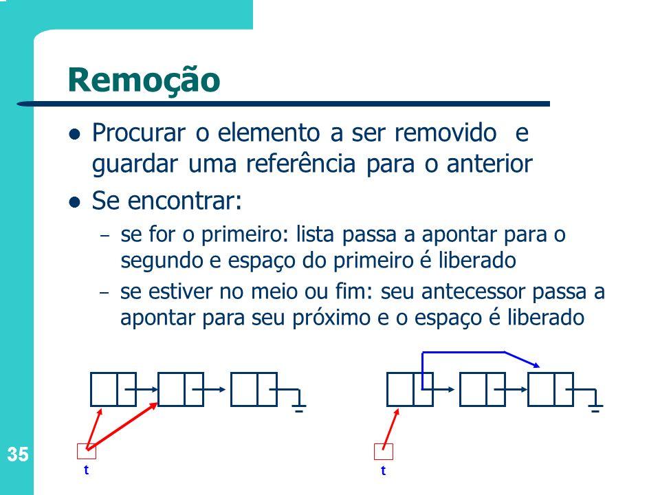 35 Remoção Procurar o elemento a ser removido e guardar uma referência para o anterior Se encontrar: – se for o primeiro: lista passa a apontar para o