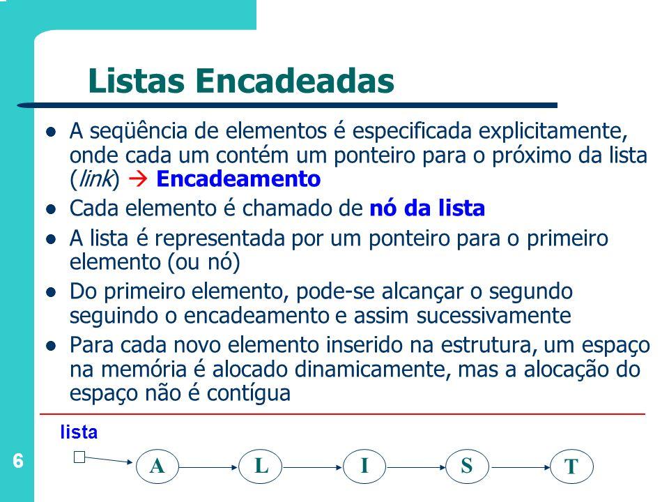 6 ALI T S Listas Encadeadas A seqüência de elementos é especificada explicitamente, onde cada um contém um ponteiro para o próximo da lista (link) Enc