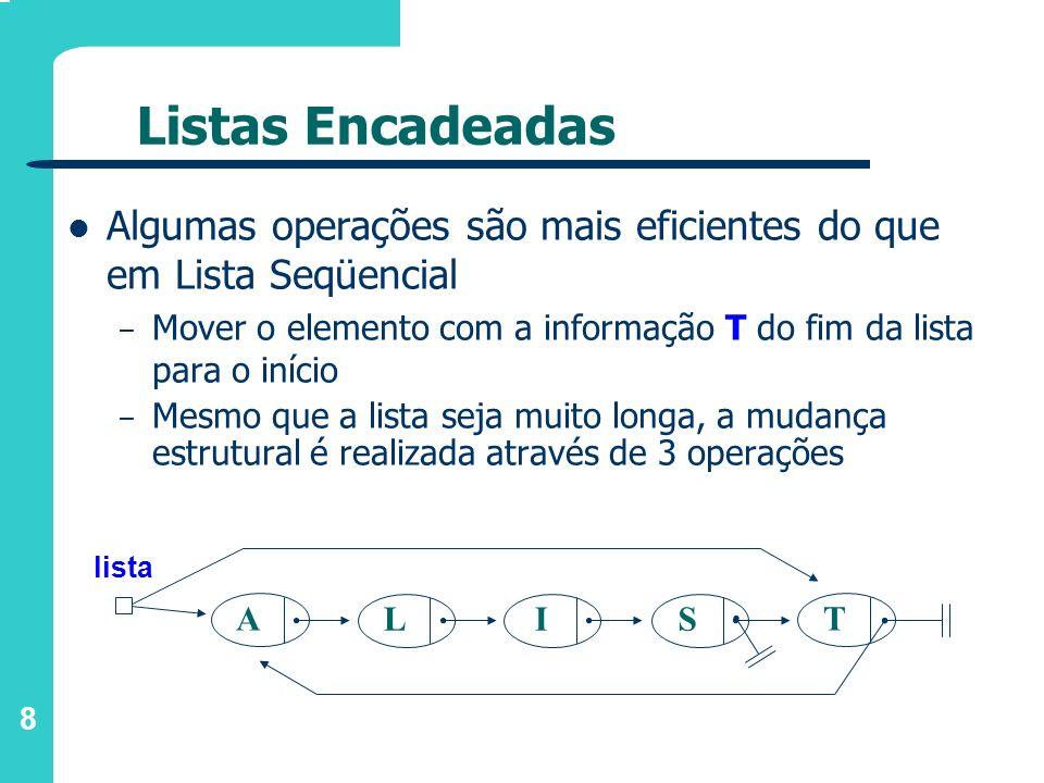 9 Listas Encadeadas Para inserção de um novo elemento X: – aloca-se memória para um elemento e atualiza-se os ponteiros – em lista seqüencial seria necessário deslocar todos os elementos a partir do ponto de inserção; – apenas 2 links são alterados para esta operação - não importa quão longa é a lista A lista LIS T X