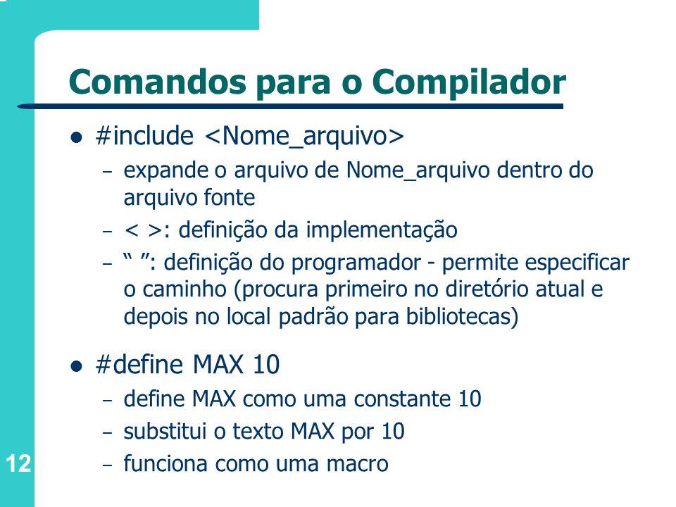 12 Comandos para o Compilador #include – expande o arquivo de Nome_arquivo dentro do arquivo fonte – : definição da implementação – : definição do pro