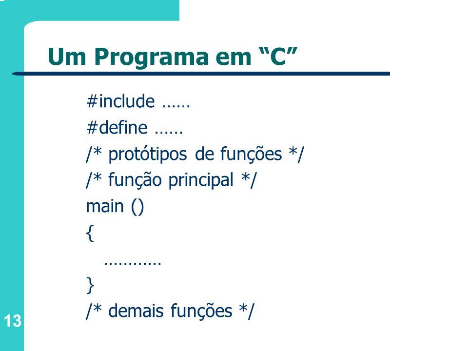 13 Um Programa em C #include …… #define …… /* protótipos de funções */ /* função principal */ main () { ………… } /* demais funções */