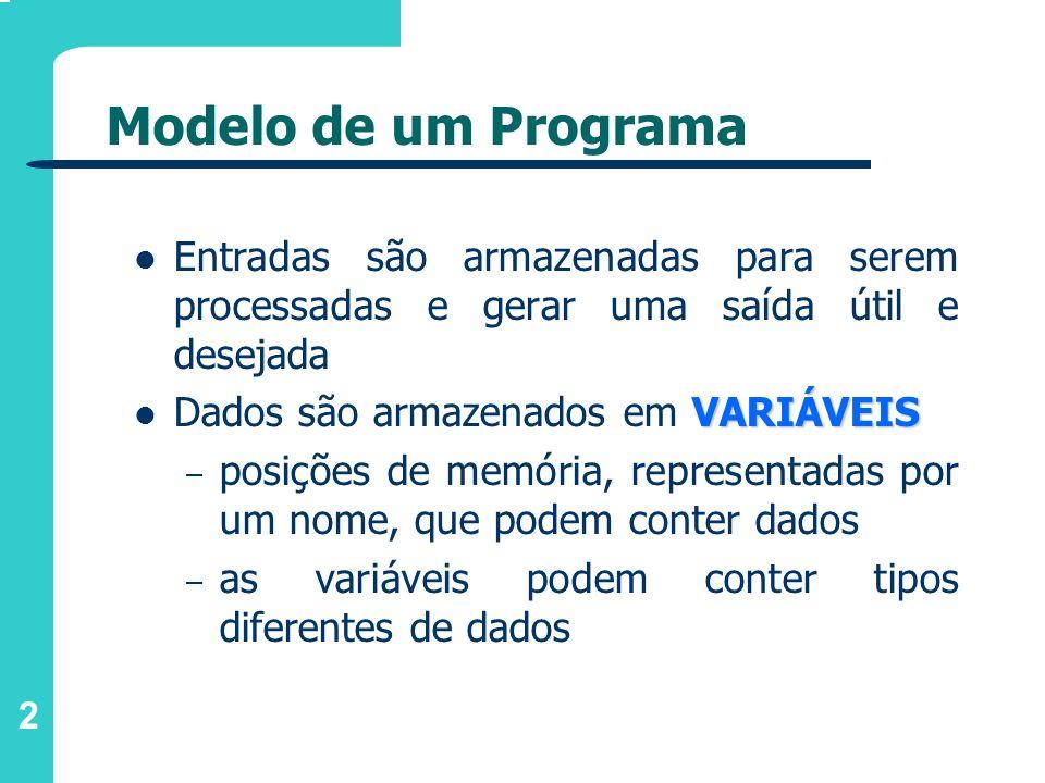2 Modelo de um Programa Entradas são armazenadas para serem processadas e gerar uma saída útil e desejada VARIÁVEIS Dados são armazenados em VARIÁVEIS