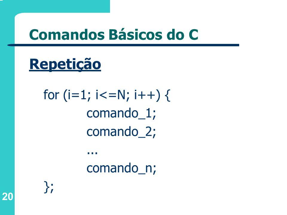 20 Comandos Básicos do C Repetição for (i=1; i<=N; i++) { comando_1; comando_2;... comando_n; };