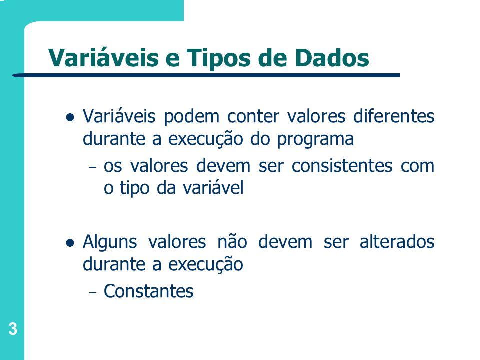 3 Variáveis e Tipos de Dados Variáveis podem conter valores diferentes durante a execução do programa – os valores devem ser consistentes com o tipo d