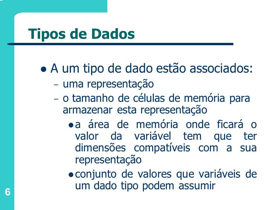 6 Tipos de Dados A um tipo de dado estão associados: – uma representação – o tamanho de células de memória para armazenar esta representação a área de