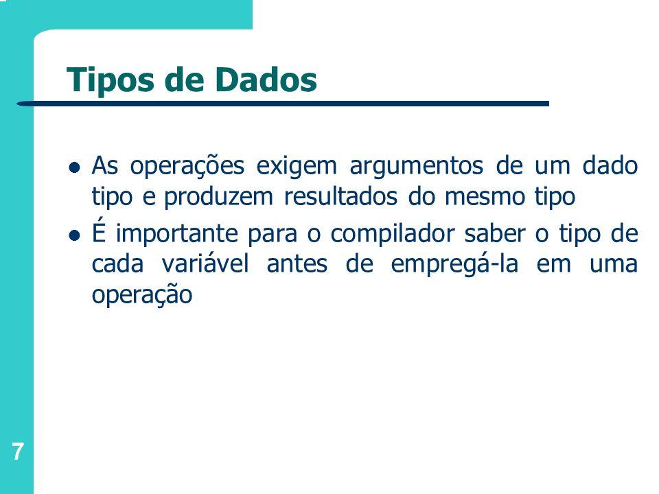 7 Tipos de Dados As operações exigem argumentos de um dado tipo e produzem resultados do mesmo tipo É importante para o compilador saber o tipo de cad
