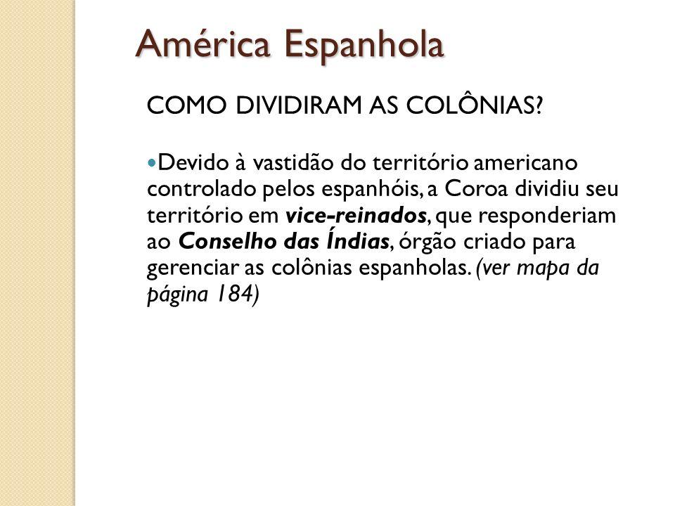 América Espanhola COMO DIVIDIRAM AS COLÔNIAS? Devido à vastidão do território americano controlado pelos espanhóis, a Coroa dividiu seu território em
