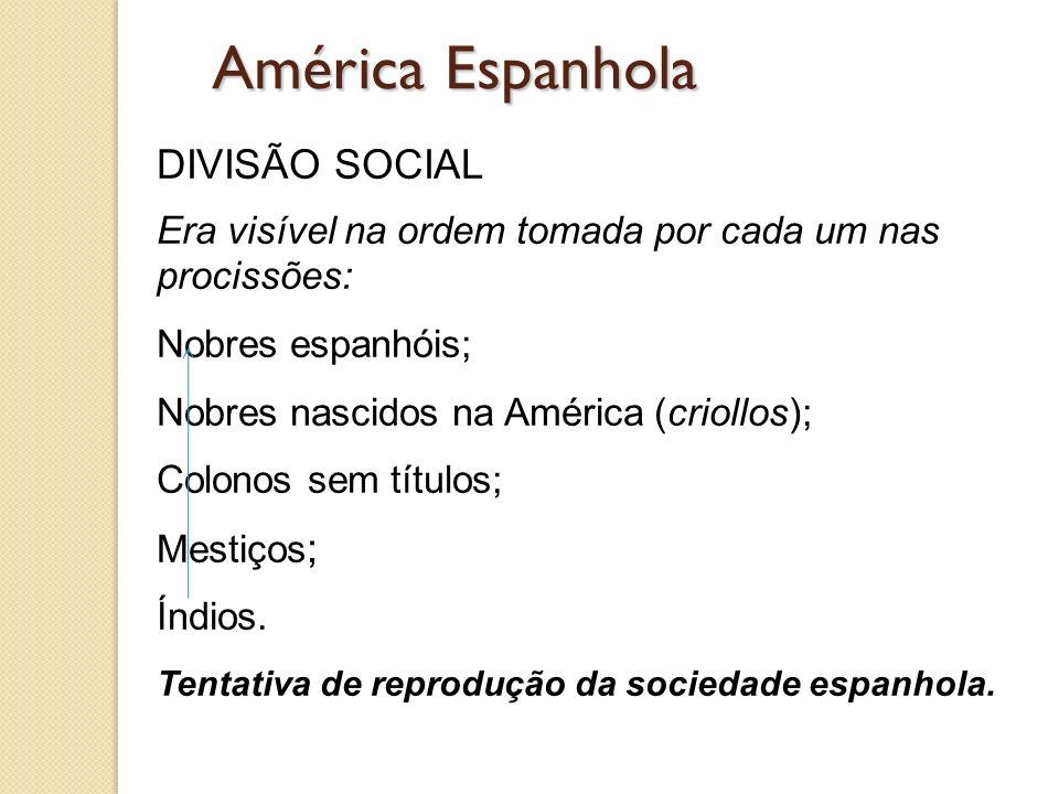 América Espanhola DIVISÃO SOCIAL Era visível na ordem tomada por cada um nas procissões: Nobres espanhóis; Nobres nascidos na América (criollos); Colo