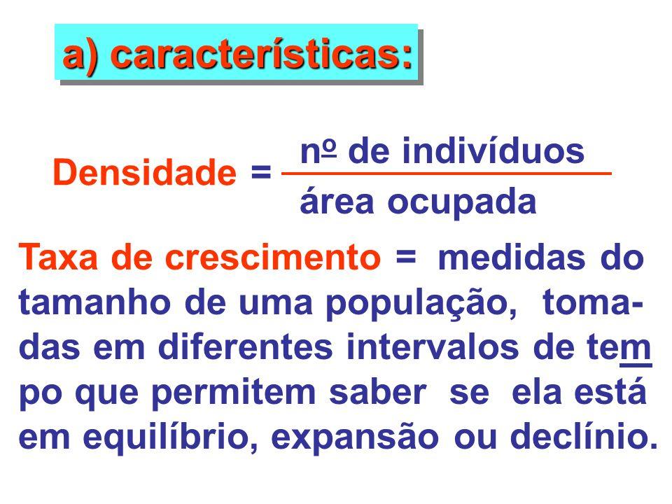 a) características: Densidade = n o de indivíduos área ocupada Taxa de crescimento = medidas do tamanho de uma população, toma- das em diferentes inte