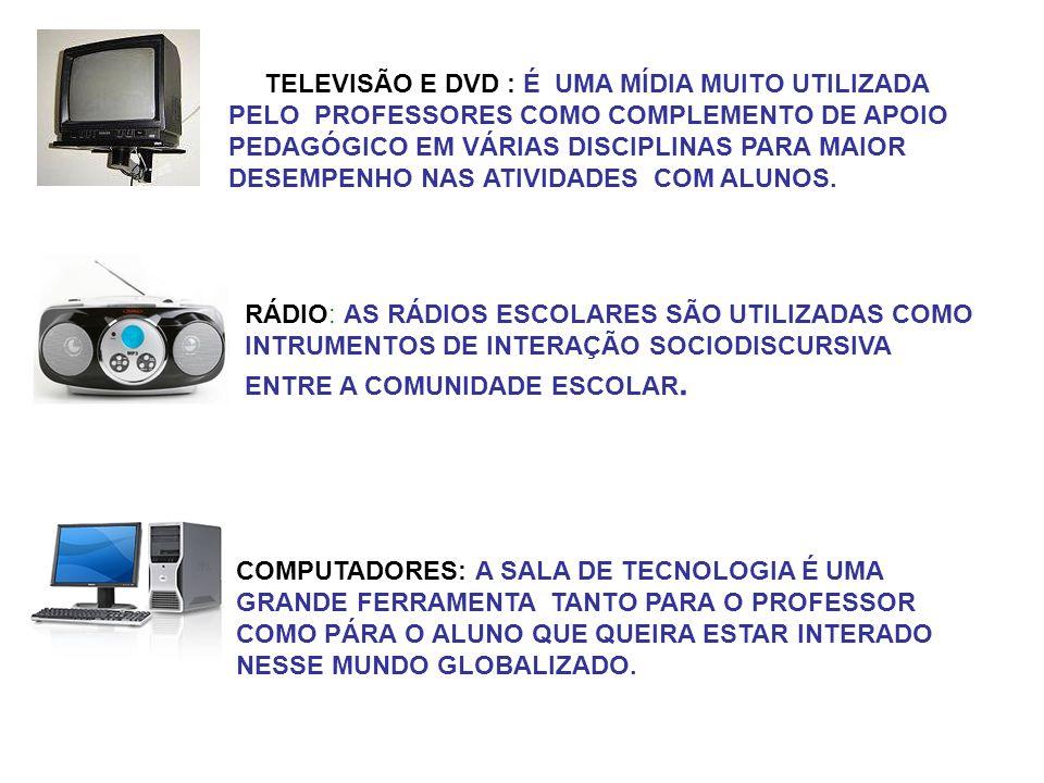 TELEVISÃO E DVD : É UMA MÍDIA MUITO UTILIZADA PELO PROFESSORES COMO COMPLEMENTO DE APOIO PEDAGÓGICO EM VÁRIAS DISCIPLINAS PARA MAIOR DESEMPENHO NAS AT