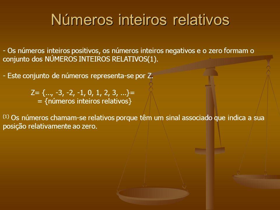 Números inteiros relativos - Os números inteiros positivos, os números inteiros negativos e o zero formam o conjunto dos NÚMEROS INTEIROS RELATIVOS(1)