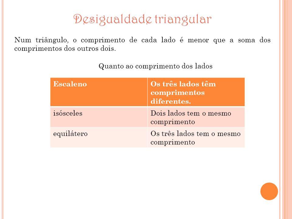 Desigualdade triangular Num triângulo, o comprimento de cada lado é menor que a soma dos comprimentos dos outros dois. Quanto ao comprimento dos lados