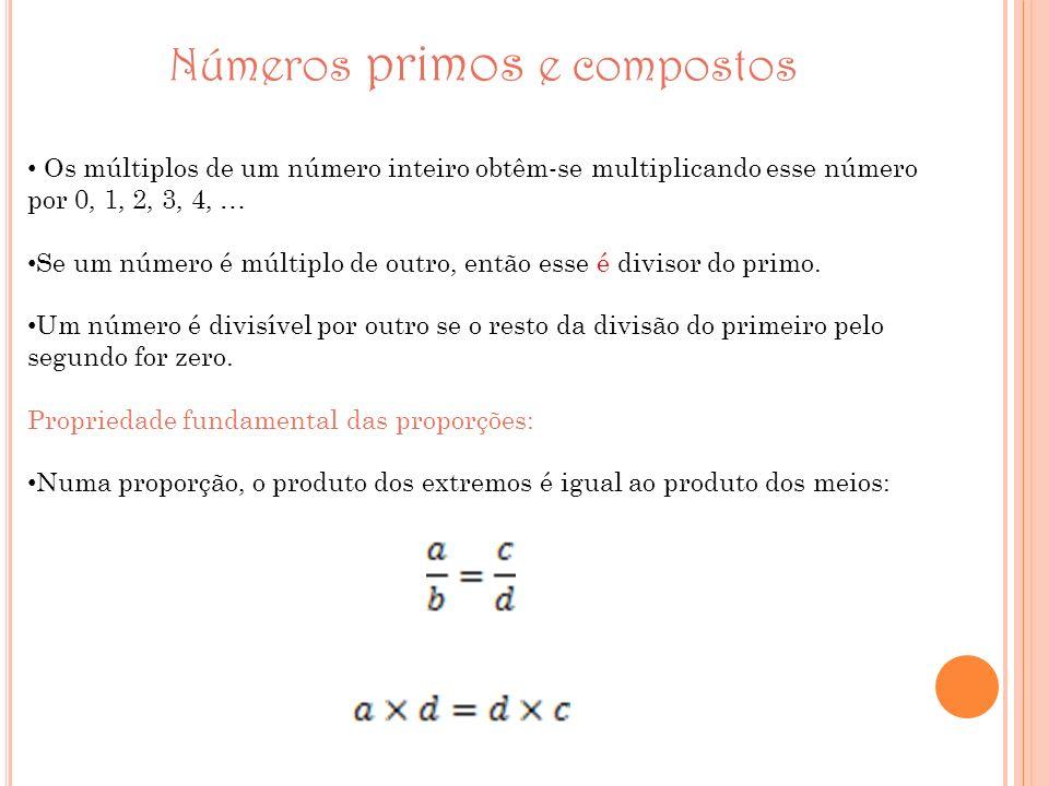 Números primos e compostos Os múltiplos de um número inteiro obtêm-se multiplicando esse número por 0, 1, 2, 3, 4, … Se um número é múltiplo de outro,