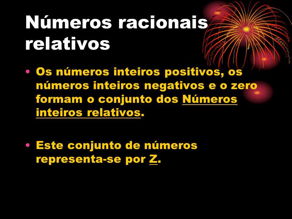 Números racionais relativos Os números inteiros positivos, os números inteiros negativos e o zero formam o conjunto dos Números inteiros relativos. Es