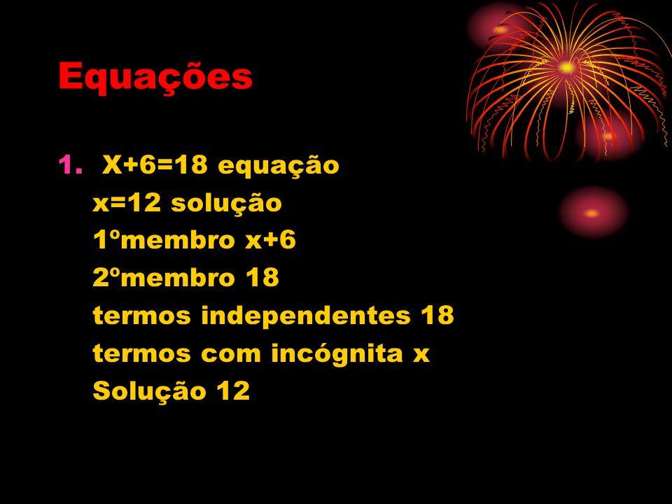 Equações 1.X+6=18 equação x=12 solução 1ºmembro x+6 2ºmembro 18 termos independentes 18 termos com incógnita x Solução 12