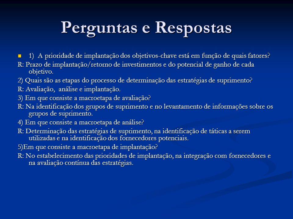 Perguntas e Respostas 1) A prioridade de implantação dos objetivos-chave está em função de quais fatores? 1) A prioridade de implantação dos objetivos