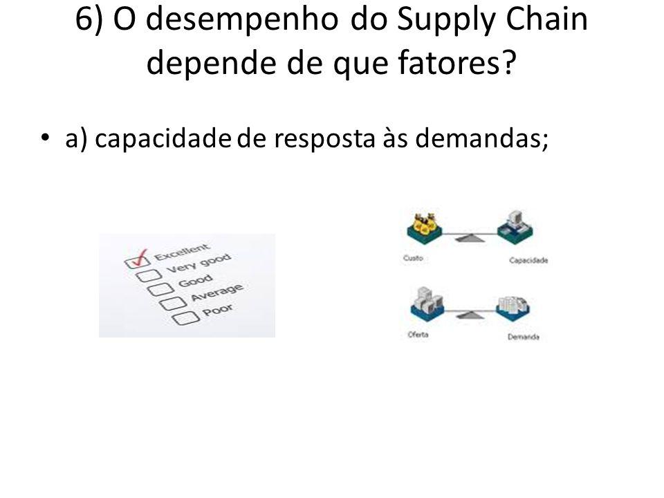 6) O desempenho do Supply Chain depende de que fatores? a) capacidade de resposta às demandas;