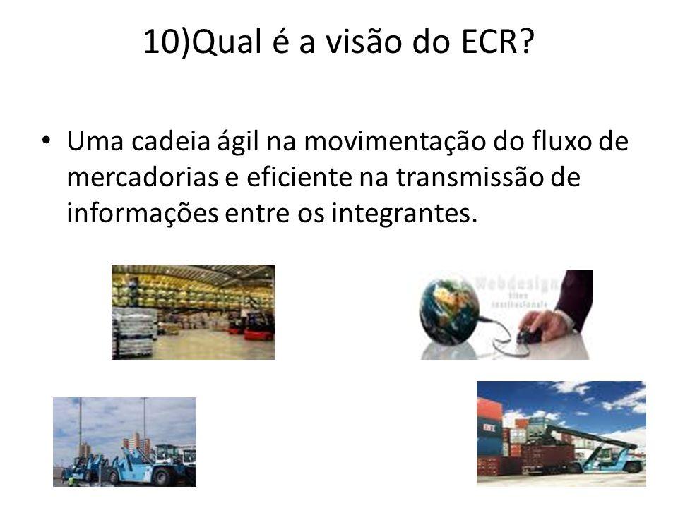 10)Qual é a visão do ECR? Uma cadeia ágil na movimentação do fluxo de mercadorias e eficiente na transmissão de informações entre os integrantes.