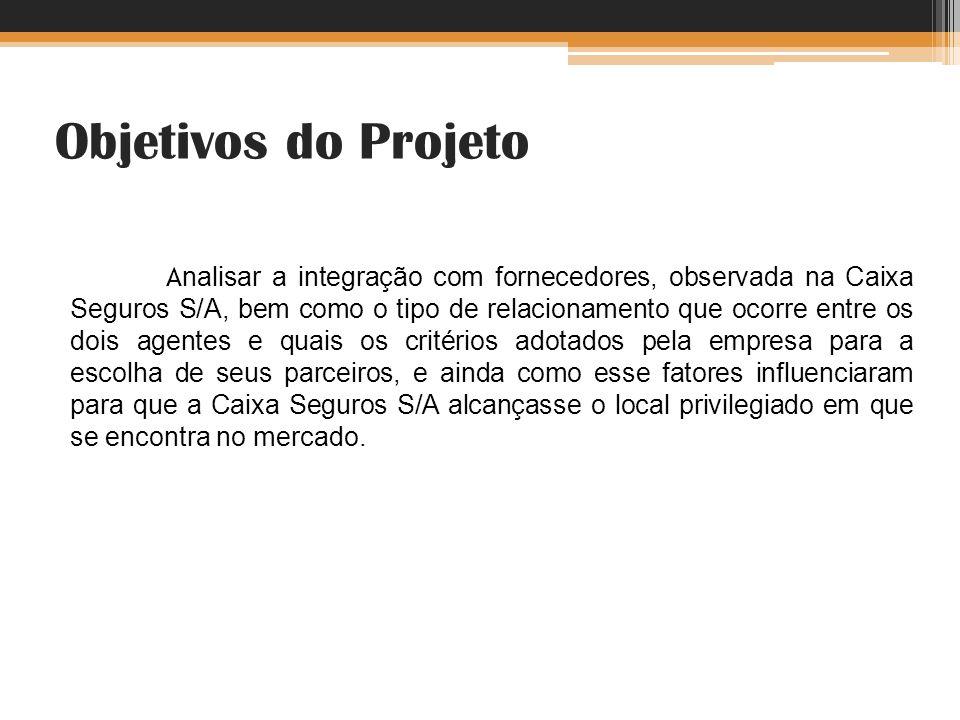 Objetivos do Projeto A nalisar a integração com fornecedores, observada na Caixa Seguros S/A, bem como o tipo de relacionamento que ocorre entre os do