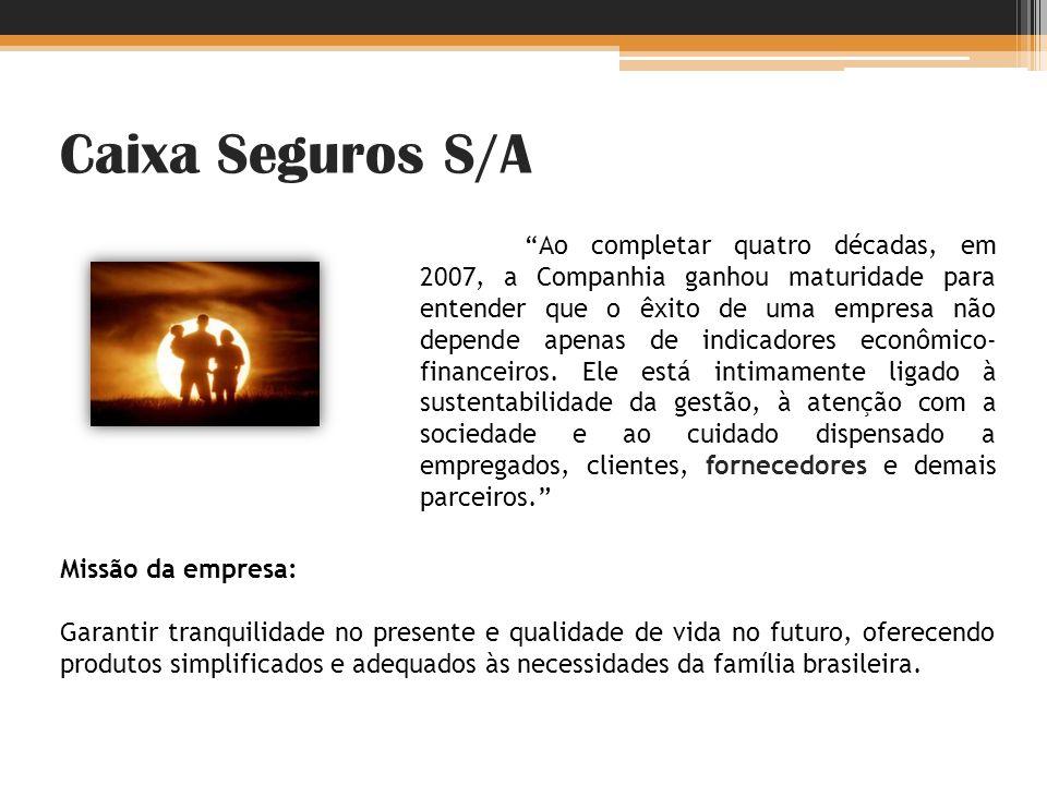 Caixa Seguros S/A Ao completar quatro décadas, em 2007, a Companhia ganhou maturidade para entender que o êxito de uma empresa não depende apenas de i