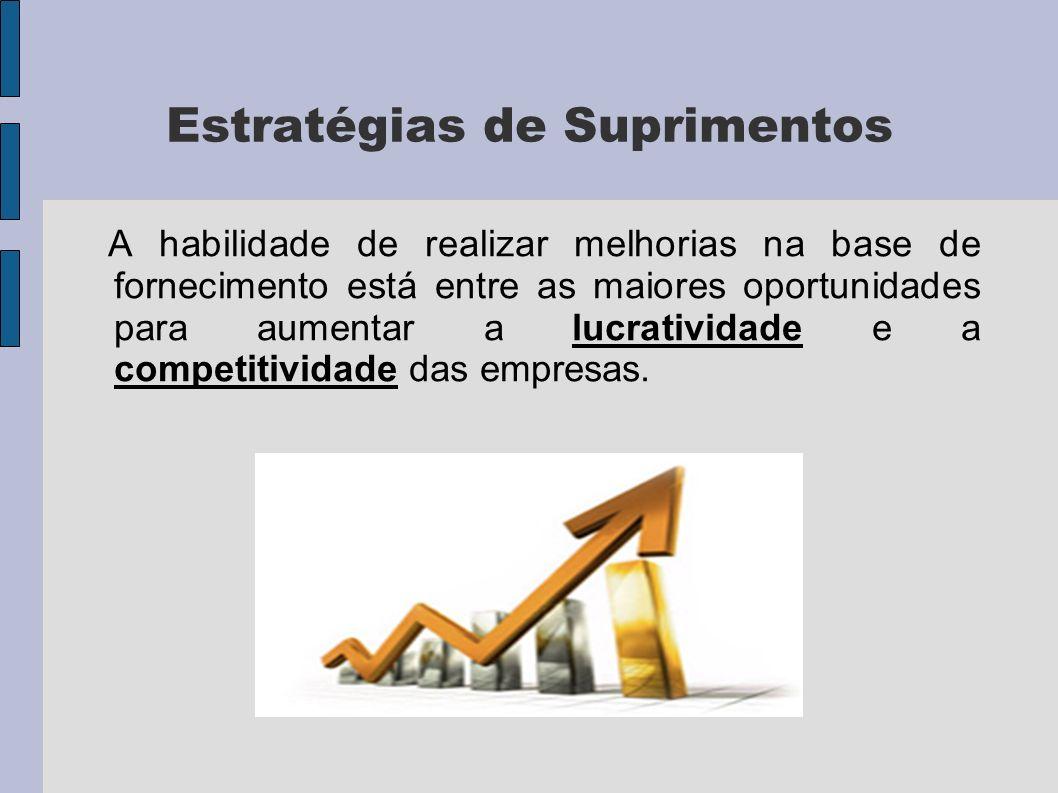 Estratégias de Suprimentos A habilidade de realizar melhorias na base de fornecimento está entre as maiores oportunidades para aumentar a lucratividade e a competitividade das empresas.