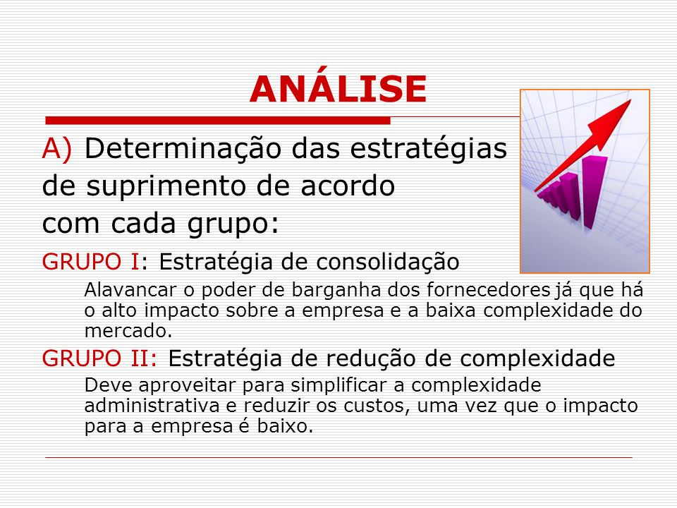 ANÁLISE A)Determinação das estratégias de suprimento de acordo com cada grupo: GRUPO I: Estratégia de consolidação Alavancar o poder de barganha dos fornecedores já que há o alto impacto sobre a empresa e a baixa complexidade do mercado.