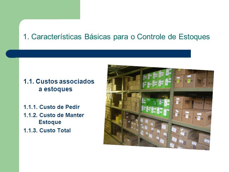1. Características Básicas para o Controle de Estoques 1.1. Custos associados a estoques 1.1.1. Custo de Pedir 1.1.2. Custo de Manter Estoque 1.1.3. C