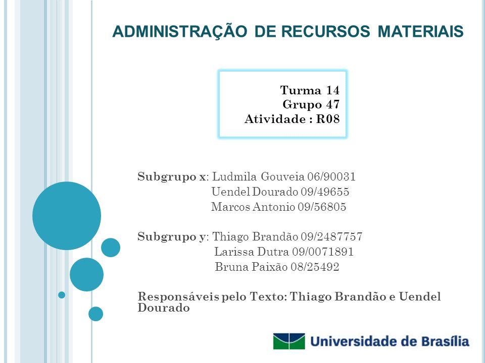 ADMINISTRAÇÃO DE RECURSOS MATERIAIS Subgrupo x : Ludmila Gouveia 06/90031 Uendel Dourado 09/49655 Marcos Antonio 09/56805 Subgrupo y : Thiago Brandão