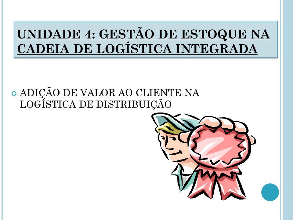 UNIDADE 4: GESTÃO DE ESTOQUE NA CADEIA DE LOGÍSTICA INTEGRADA ADIÇÃO DE VALOR AO CLIENTE NA LOGÍSTICA DE DISTRIBUIÇÃO