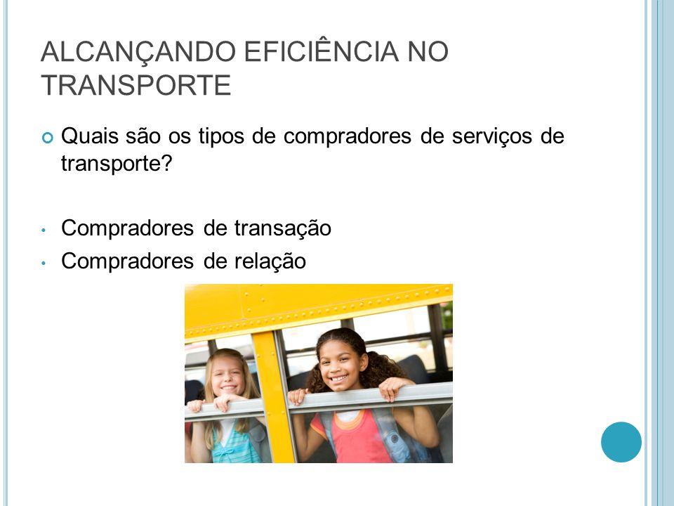 ALCANÇANDO EFICIÊNCIA NO TRANSPORTE Quais são os tipos de compradores de serviços de transporte? Compradores de transação Compradores de relação