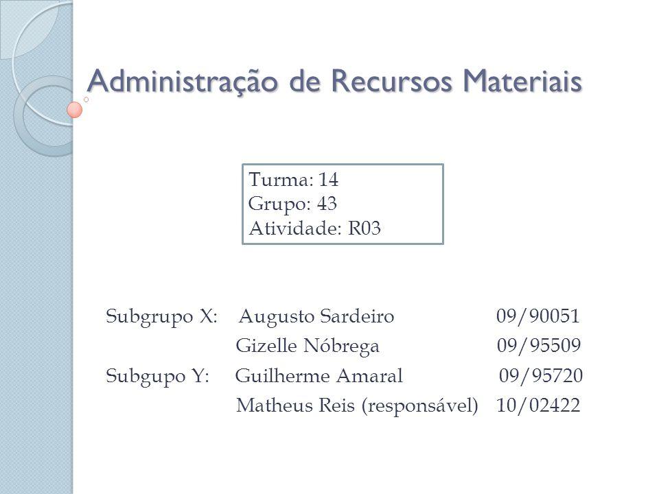 Administração de Recursos Materiais Subgrupo X: Augusto Sardeiro 09/90051 Gizelle Nóbrega 09/95509 Subgupo Y: Guilherme Amaral 09/95720 Matheus Reis (responsável) 10/02422 Turma: 14 Grupo: 43 Atividade: R03