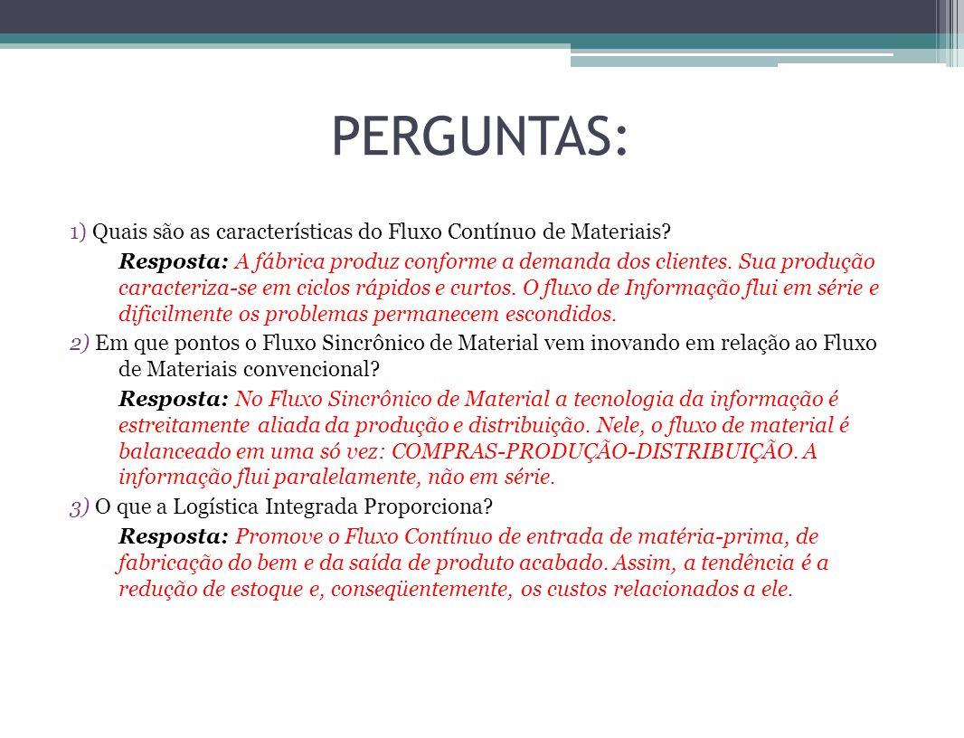 PERGUNTAS: 1) Quais são as características do Fluxo Contínuo de Materiais? Resposta: A fábrica produz conforme a demanda dos clientes. Sua produção ca