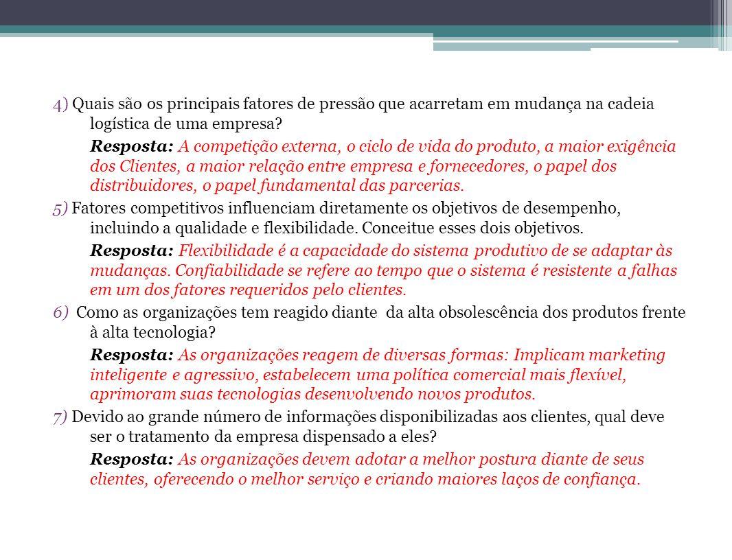4) Quais são os principais fatores de pressão que acarretam em mudança na cadeia logística de uma empresa? Resposta: A competição externa, o ciclo de