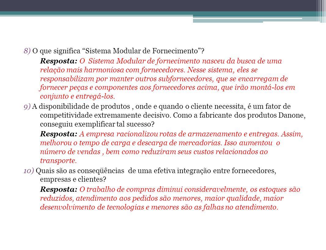 8) O que significa Sistema Modular de Fornecimento? Resposta: O Sistema Modular de fornecimento nasceu da busca de uma relação mais harmoniosa com for