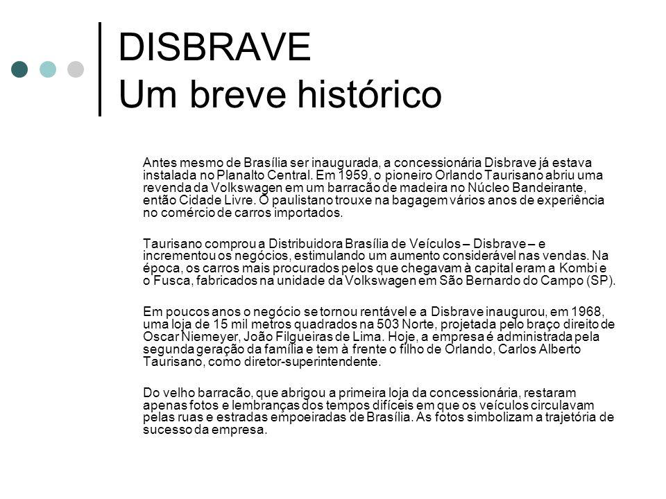 DISBRAVE Um breve histórico Antes mesmo de Brasília ser inaugurada, a concessionária Disbrave já estava instalada no Planalto Central. Em 1959, o pion