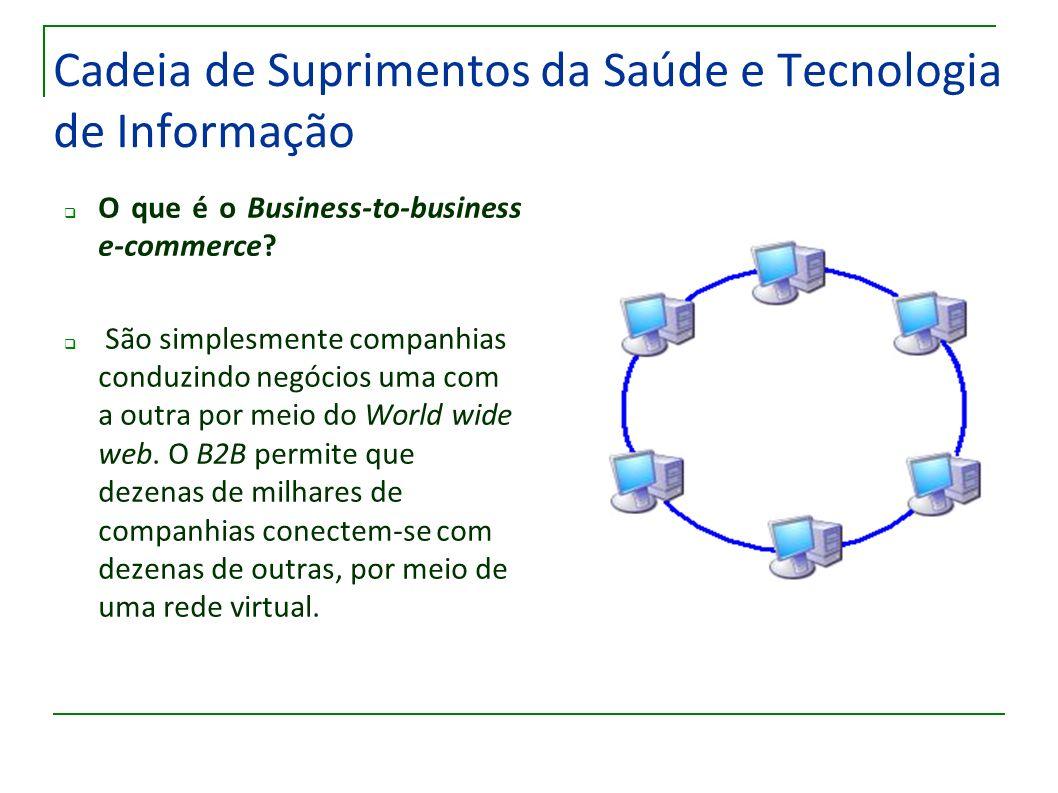 Cadeia de Suprimentos da Saúde e Tecnologia de Informação O que é o Business-to-business e-commerce? São simplesmente companhias conduzindo negócios u