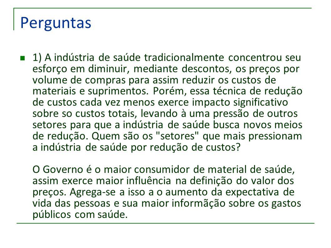 Perguntas 1) A indústria de saúde tradicionalmente concentrou seu esforço em diminuir, mediante descontos, os preços por volume de compras para assim