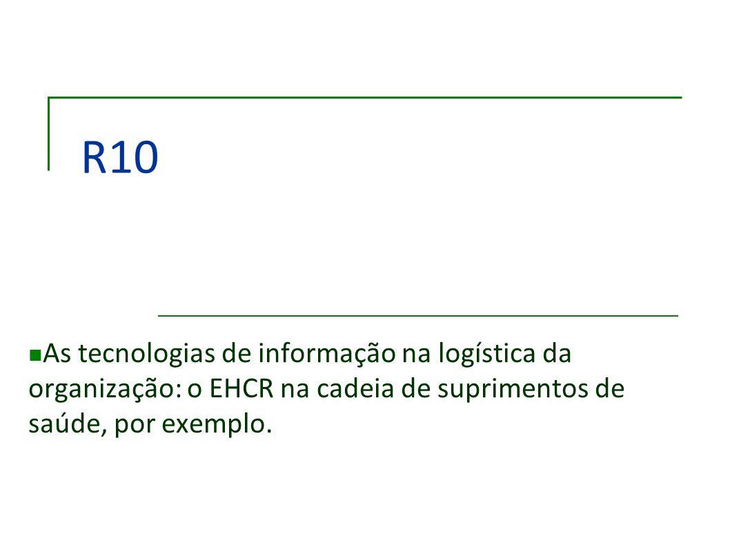 R10 As tecnologias de informação na logística da organização: o EHCR na cadeia de suprimentos de saúde, por exemplo.