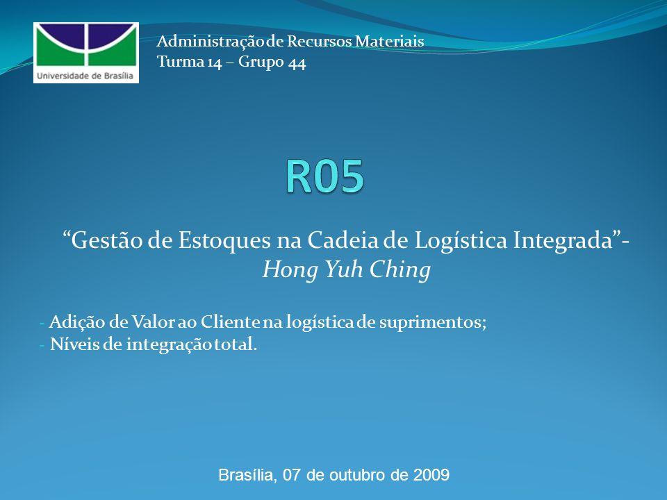 - Adição de Valor ao Cliente na logística de suprimentos; - Níveis de integração total. Administração de Recursos Materiais Turma 14 – Grupo 44 Gestão